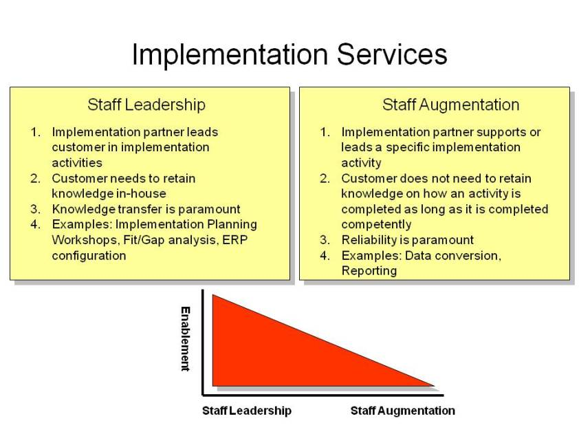 Broad categories for ERP implementation services