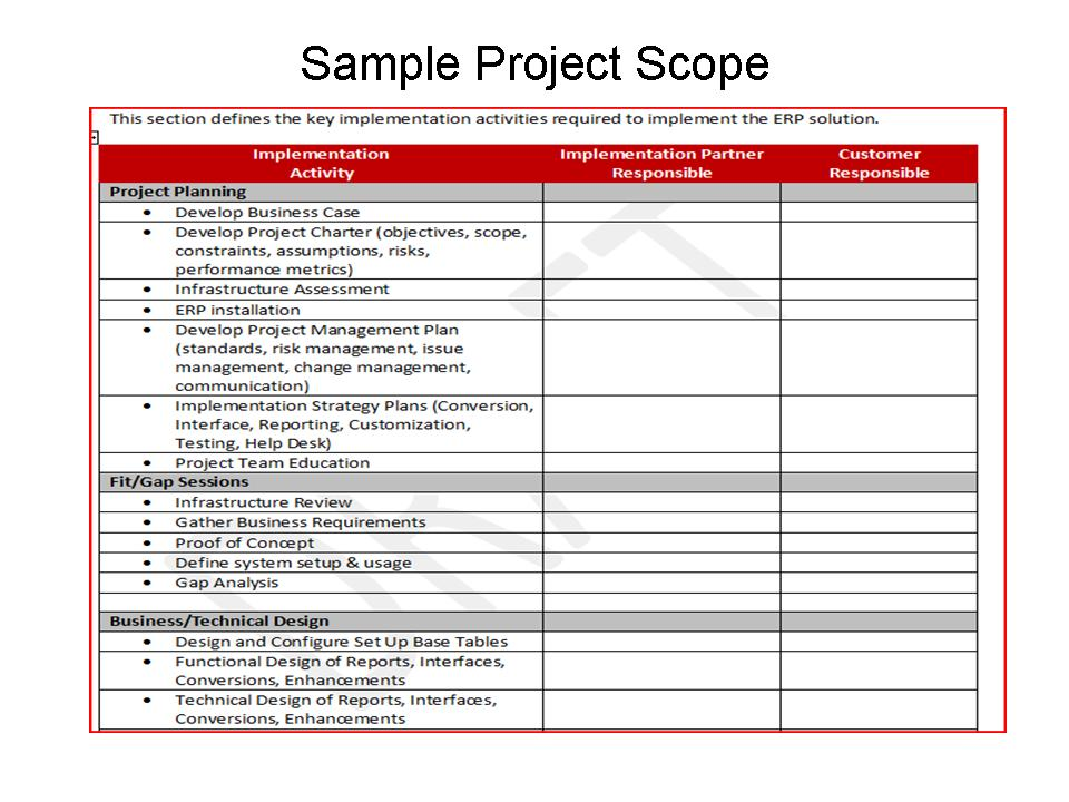 it project scope of work template - project scope erp the right way