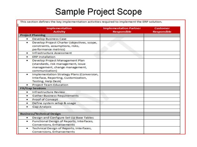 ERP - Implementation Activities Scope