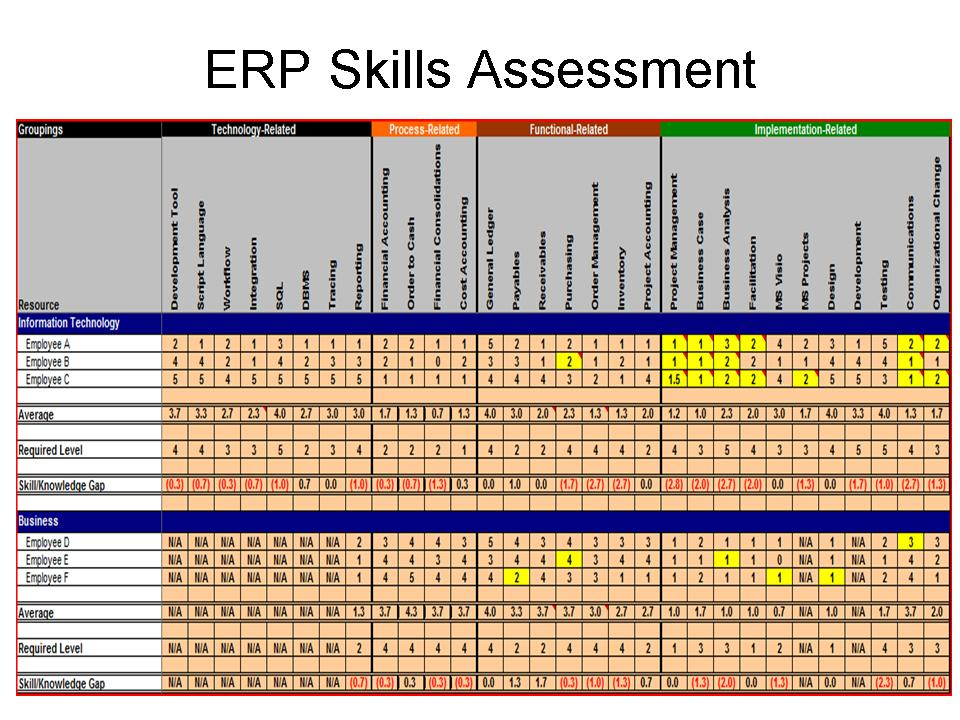 Conducting ERP Assessment to Maximize ERP ROI – Skills Assessment Template
